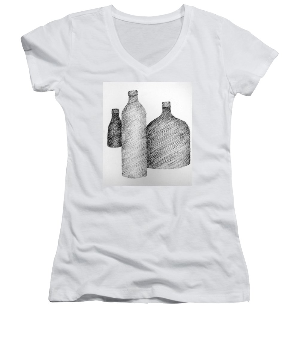 Still Life Women's V-Neck (Athletic Fit) featuring the drawing Still Life With Three Bottles by Michelle Calkins