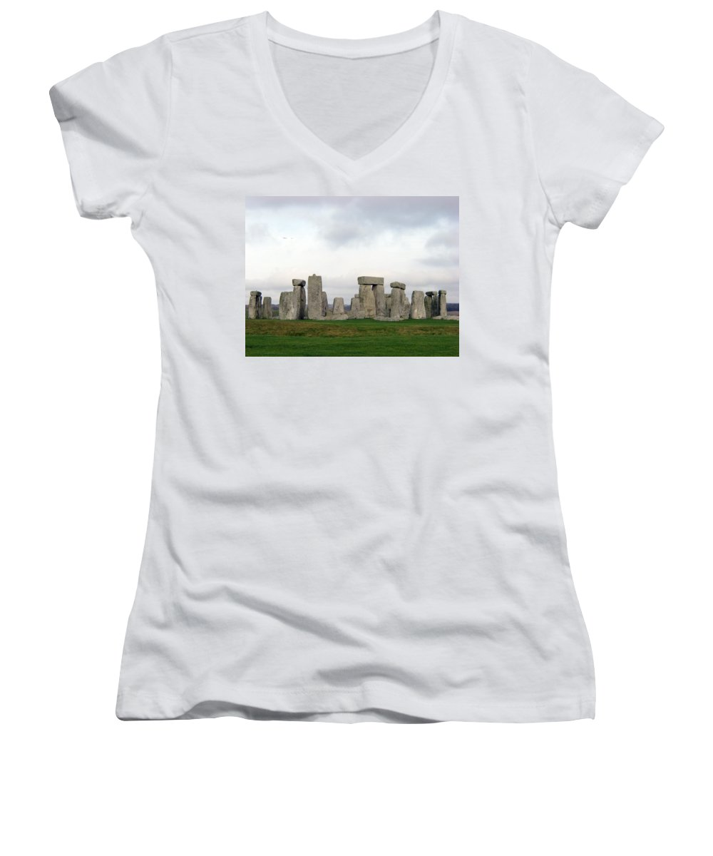 Stonehenge Women's V-Neck (Athletic Fit) featuring the photograph Stonehenge by Amanda Barcon