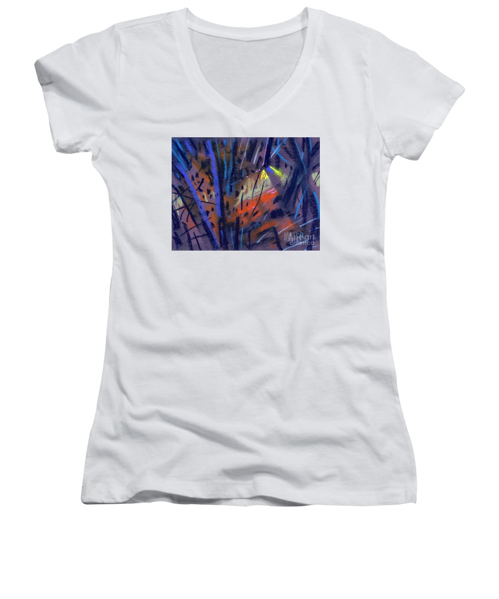 Abstract Women's V-Neck (Athletic Fit) featuring the drawing strange Lights by Donald Maier