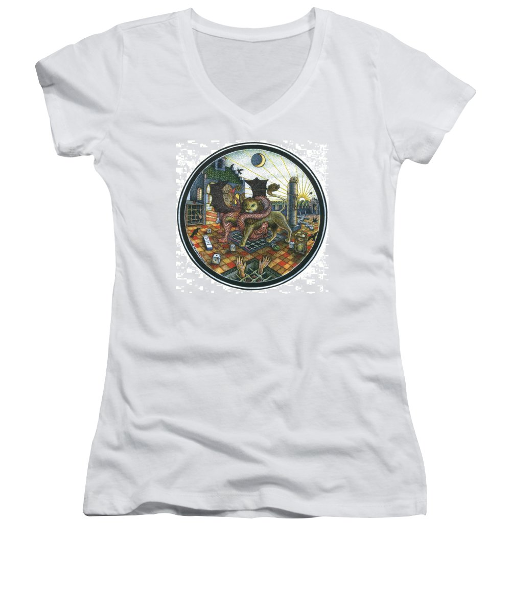 Dragon Women's V-Neck (Athletic Fit) featuring the drawing Strange Reverie by Bill Perkins