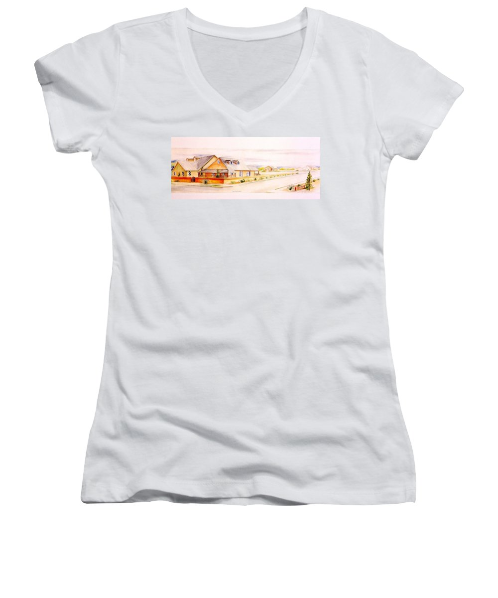Architectural Renderings Women's V-Neck (Athletic Fit) featuring the painting Subdivison Rendering by Eric Schiabor