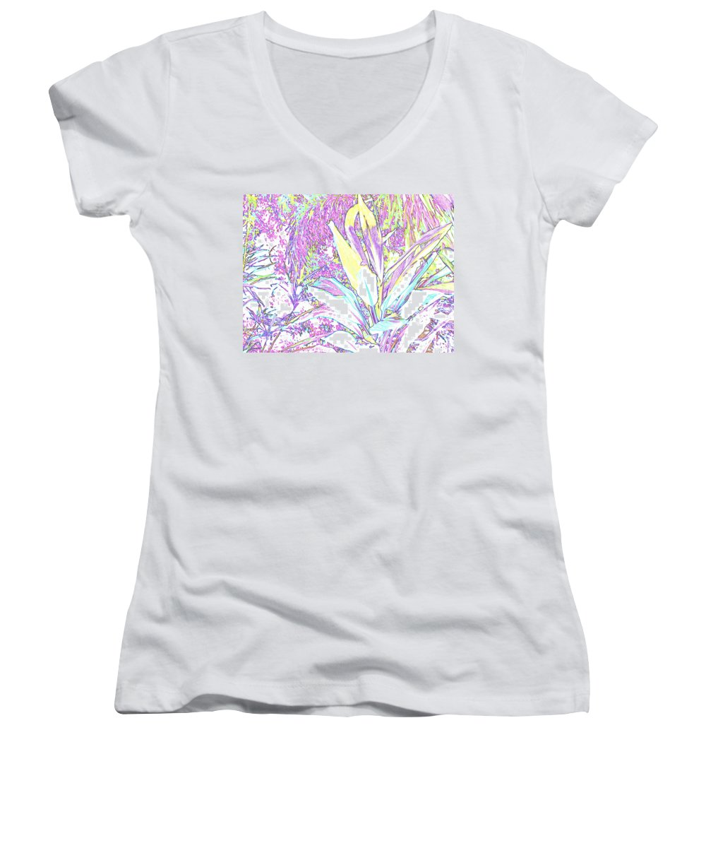 Abstract Women's V-Neck (Athletic Fit) featuring the photograph Subtle Leaf by Ian MacDonald