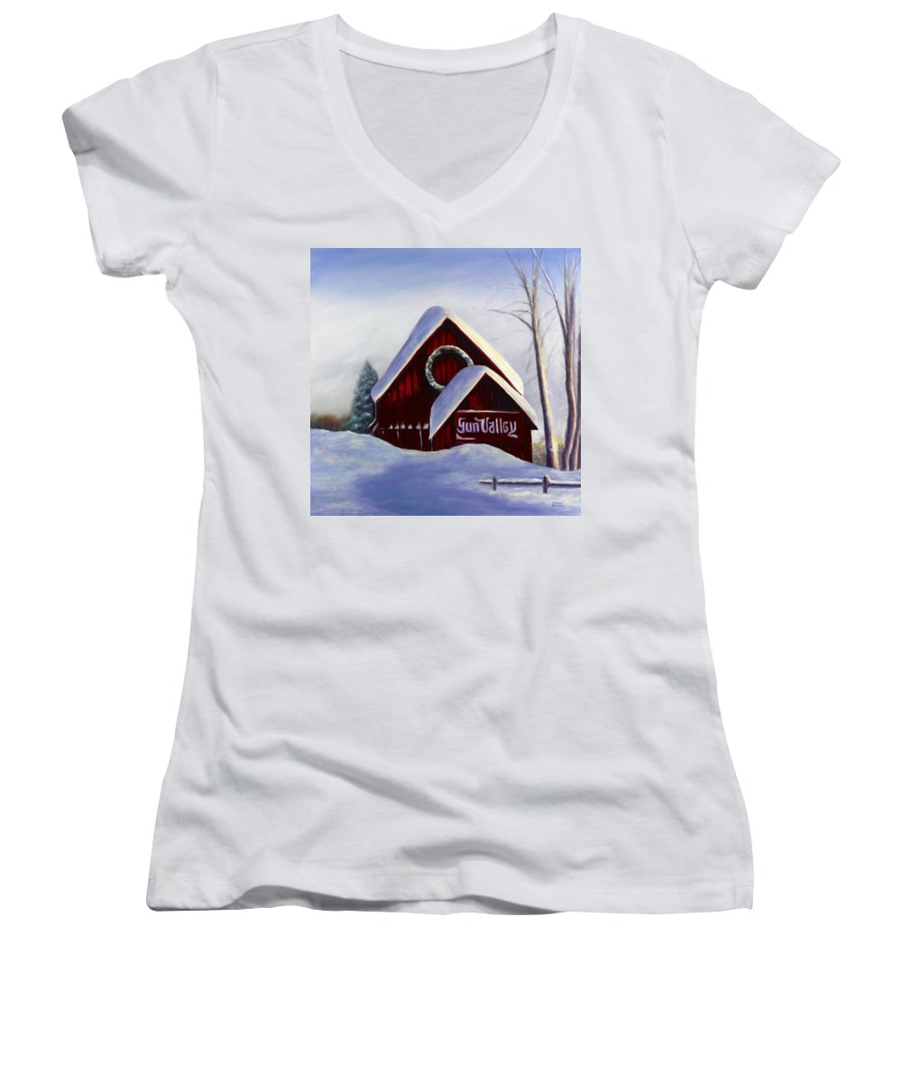 Landscape Women's V-Neck (Athletic Fit) featuring the painting Sun Valley 3 by Shannon Grissom