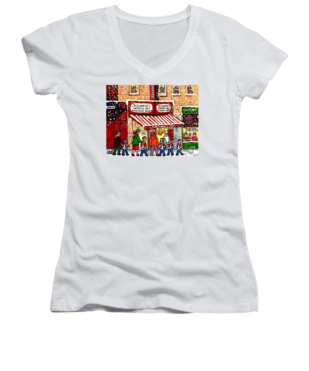 Montreal Women's V-Neck T-Shirt featuring the painting Sunday Lineup At The Deli by Carole Spandau