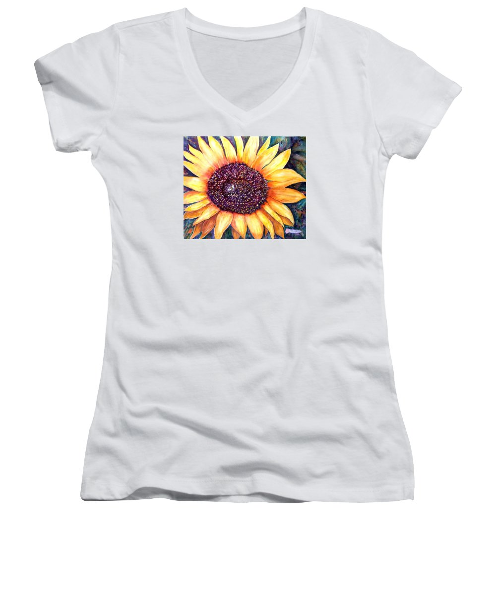Sunflower Women's V-Neck T-Shirt featuring the painting Sunflower Of Georgia by Norma Boeckler