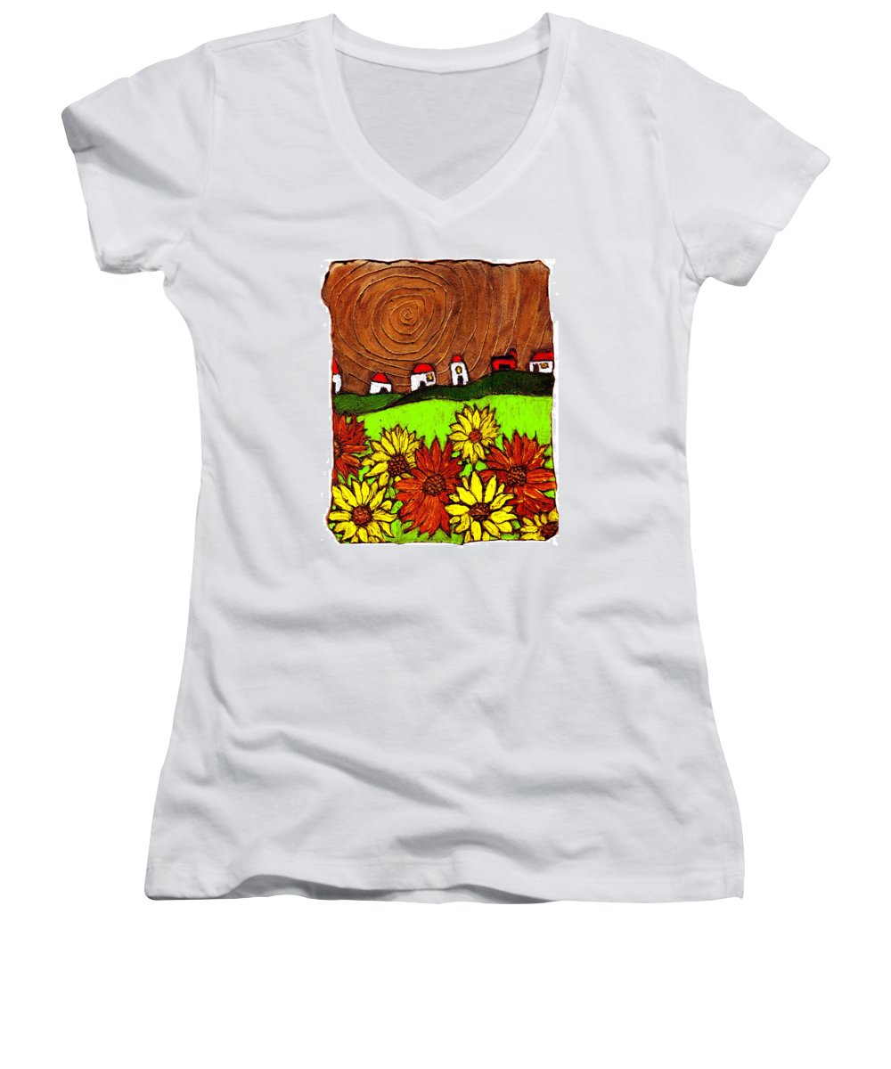 Flowers Women's V-Neck T-Shirt featuring the painting Sunflowers And Fields by Wayne Potrafka