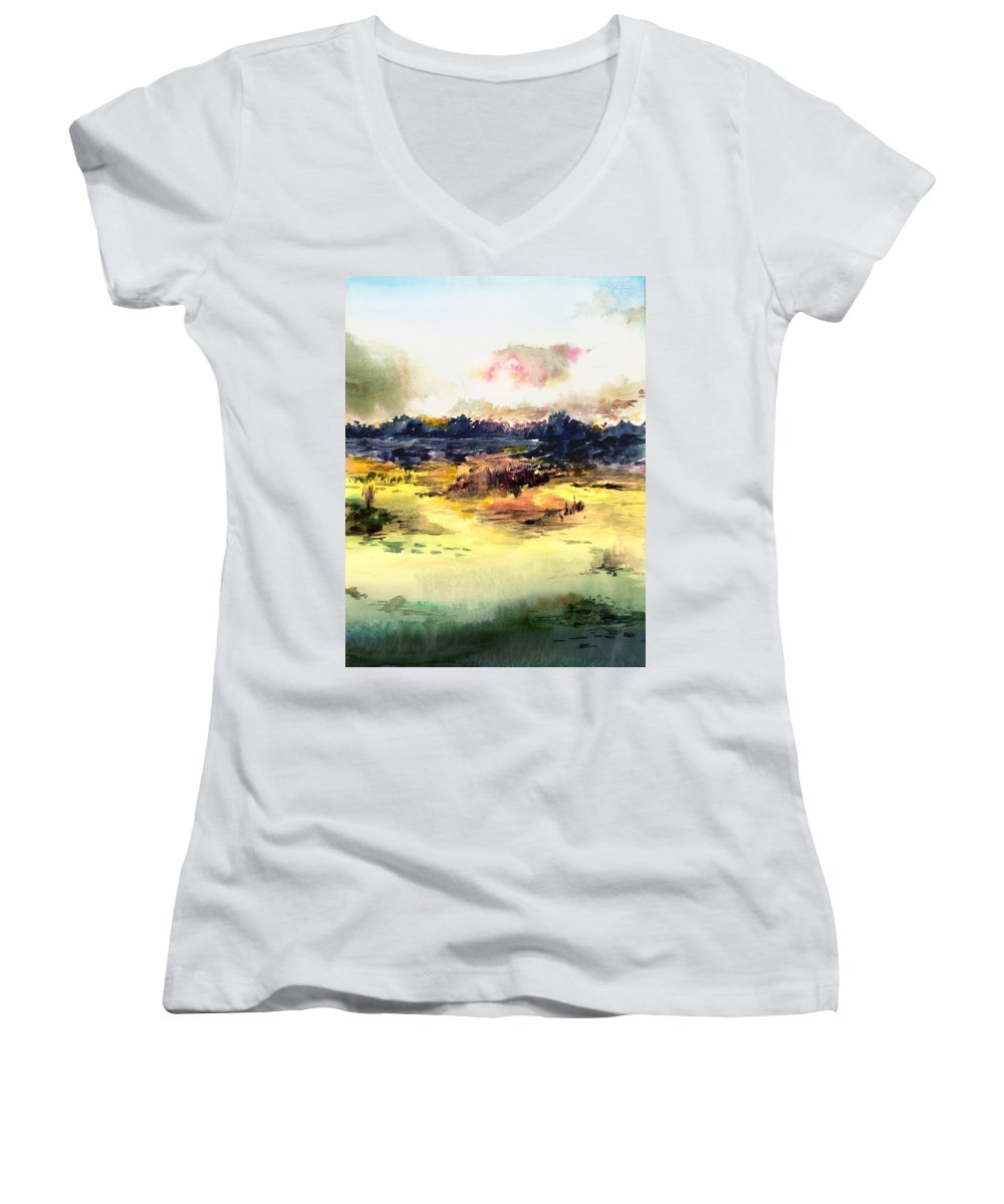 Landscape Water Color Sky Sunrise Water Watercolor Digital Mixed Media Women's V-Neck T-Shirt featuring the painting Sunrise by Anil Nene