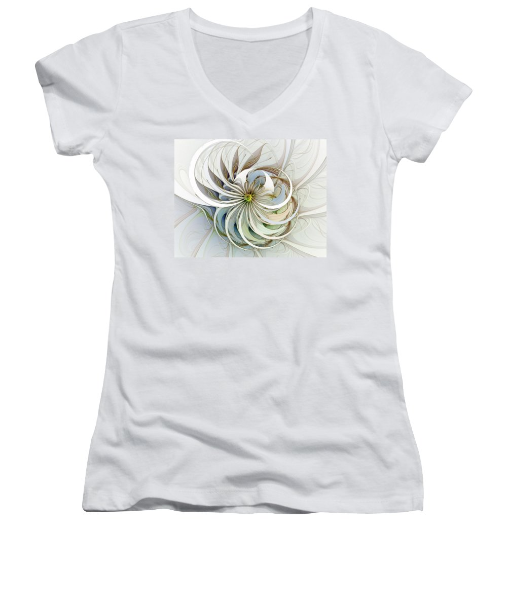 Digital Art Women's V-Neck T-Shirt featuring the digital art Swirling Petals by Amanda Moore