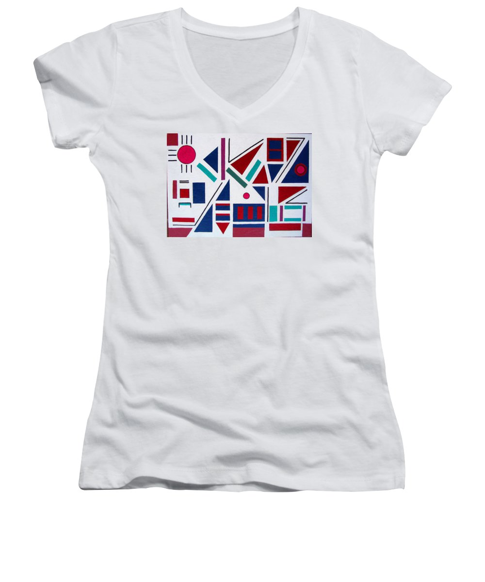 Abstract Women's V-Neck T-Shirt featuring the painting Symmetry In Blue Or Red by Marco Morales