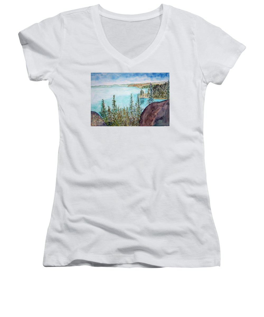 Tahoe Women's V-Neck T-Shirt featuring the painting Tahoe Remembered by Larry Wright