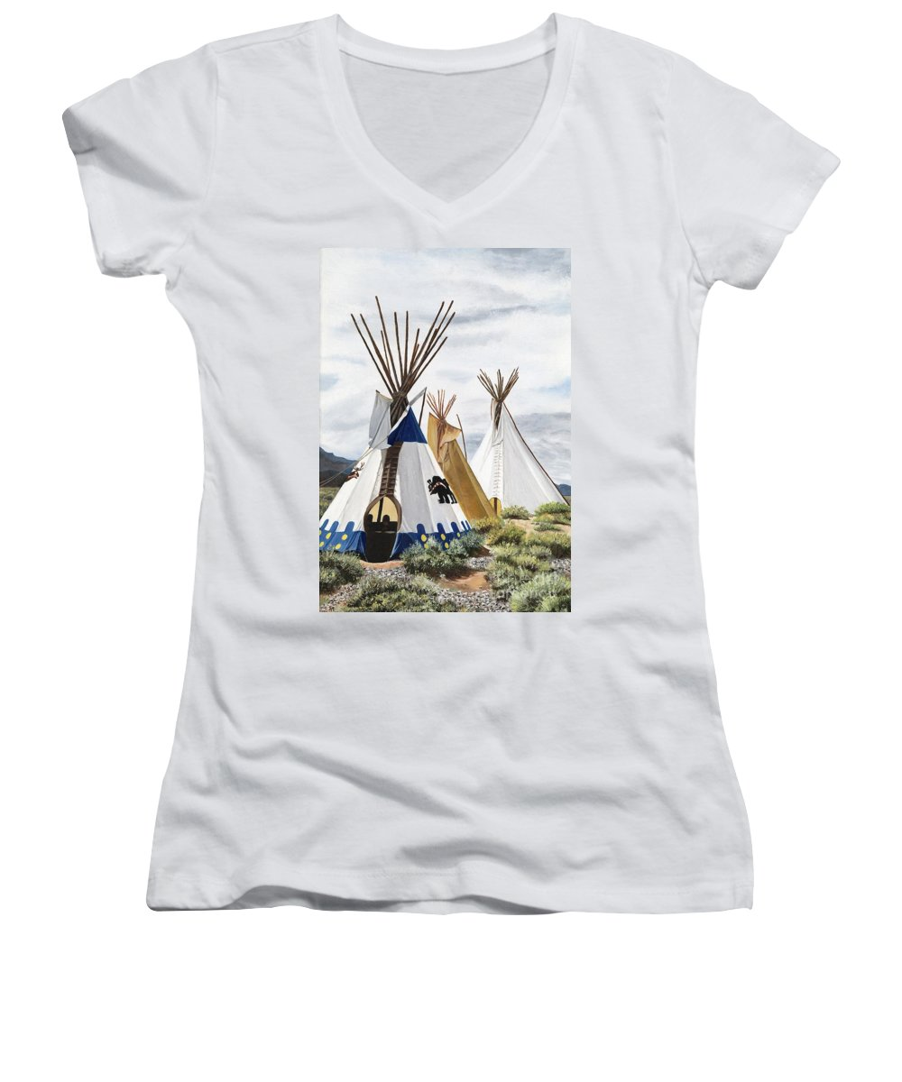 Art Women's V-Neck (Athletic Fit) featuring the painting Taos by Mary Rogers