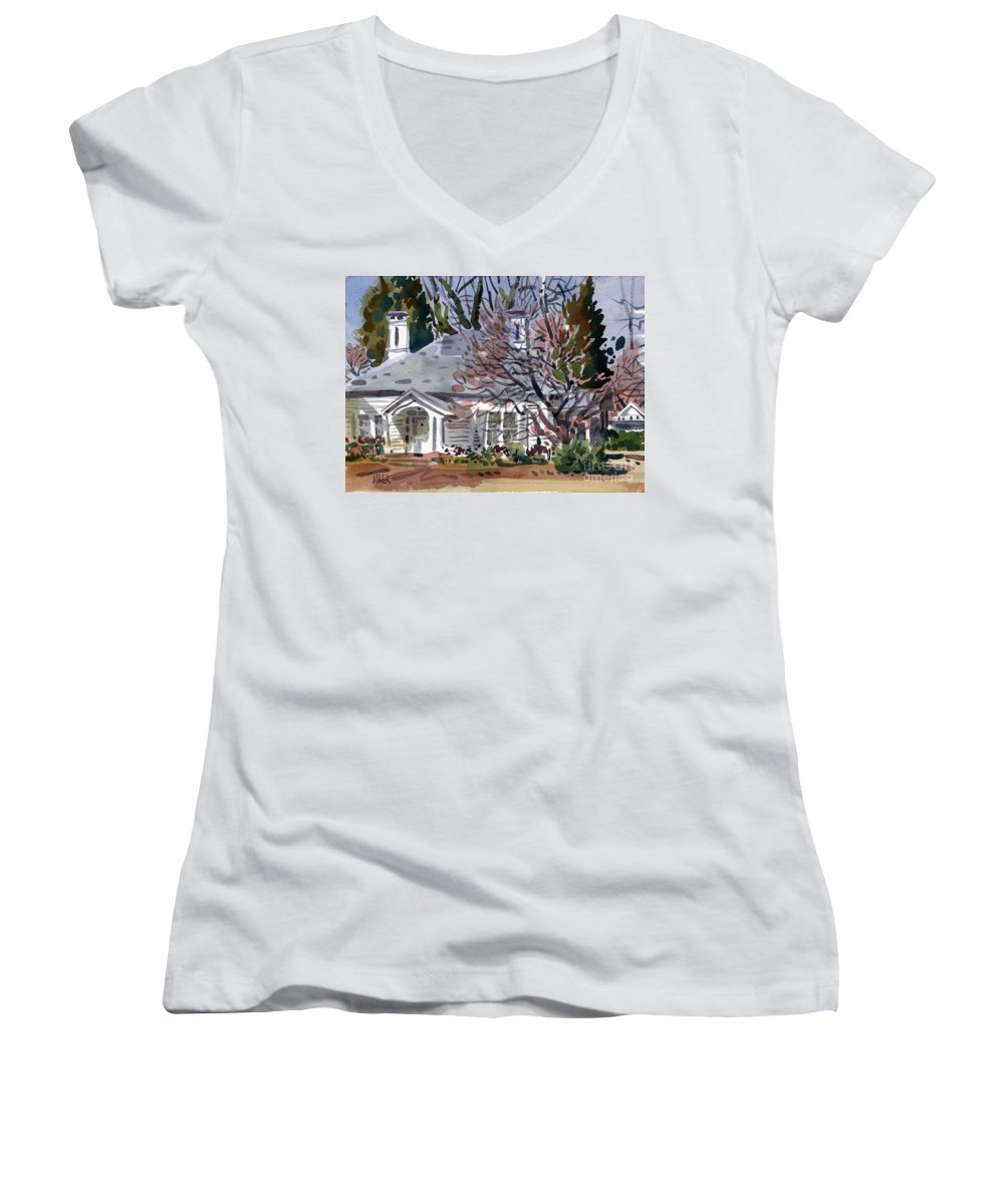 Tapp House Women's V-Neck T-Shirt featuring the painting Tapp House by Donald Maier