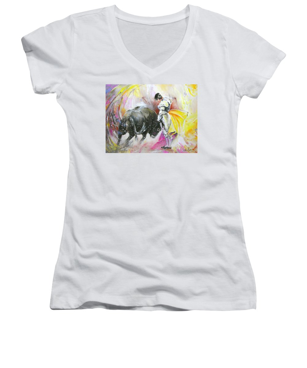 Animals Women's V-Neck (Athletic Fit) featuring the painting Taurean Power by Miki De Goodaboom