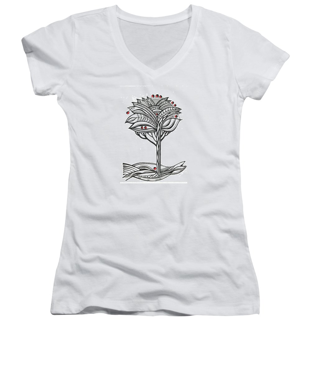 Abstract Women's V-Neck T-Shirt featuring the drawing The Apple Tree by Aniko Hencz