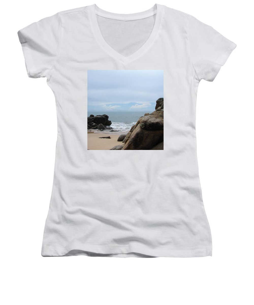 Sand Ocean Clouds Blue Sky Rocks Women's V-Neck (Athletic Fit) featuring the photograph The Beach 2 by Luciana Seymour