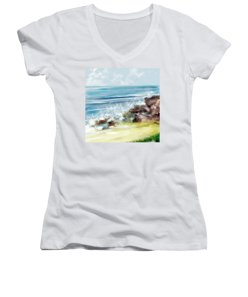 Beach Ocean Water Summer Waves Splash Women's V-Neck (Athletic Fit) featuring the digital art The Beach by Veronica Jackson