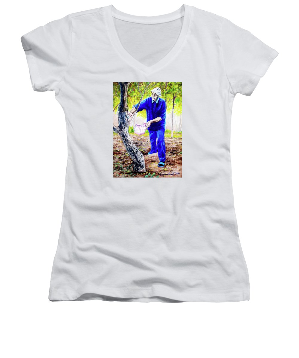Daddy Women's V-Neck (Athletic Fit) featuring the painting The Cure - La Cura by Rezzan Erguvan-Onal