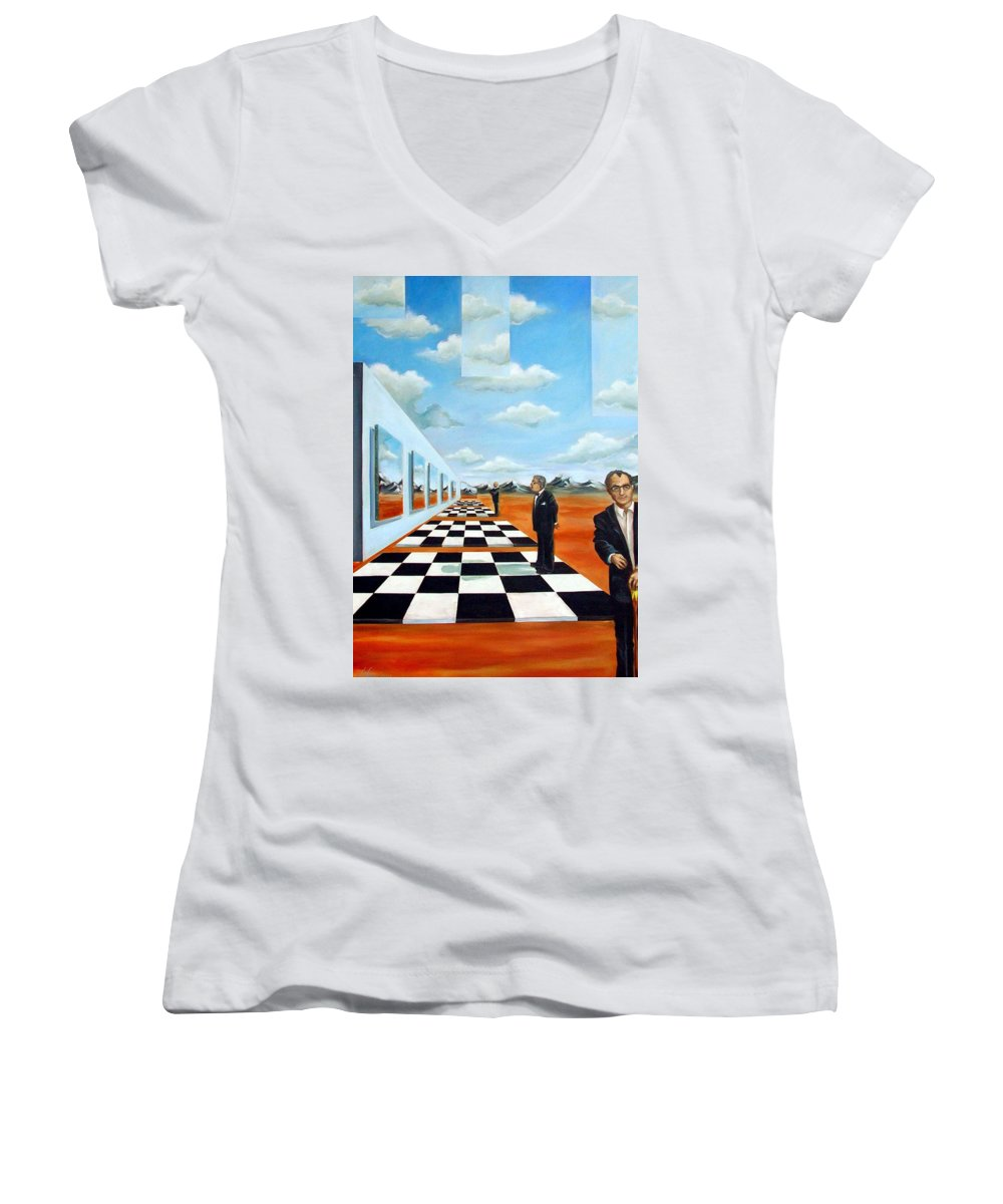 Surreal Women's V-Neck T-Shirt featuring the painting The Gallery by Valerie Vescovi