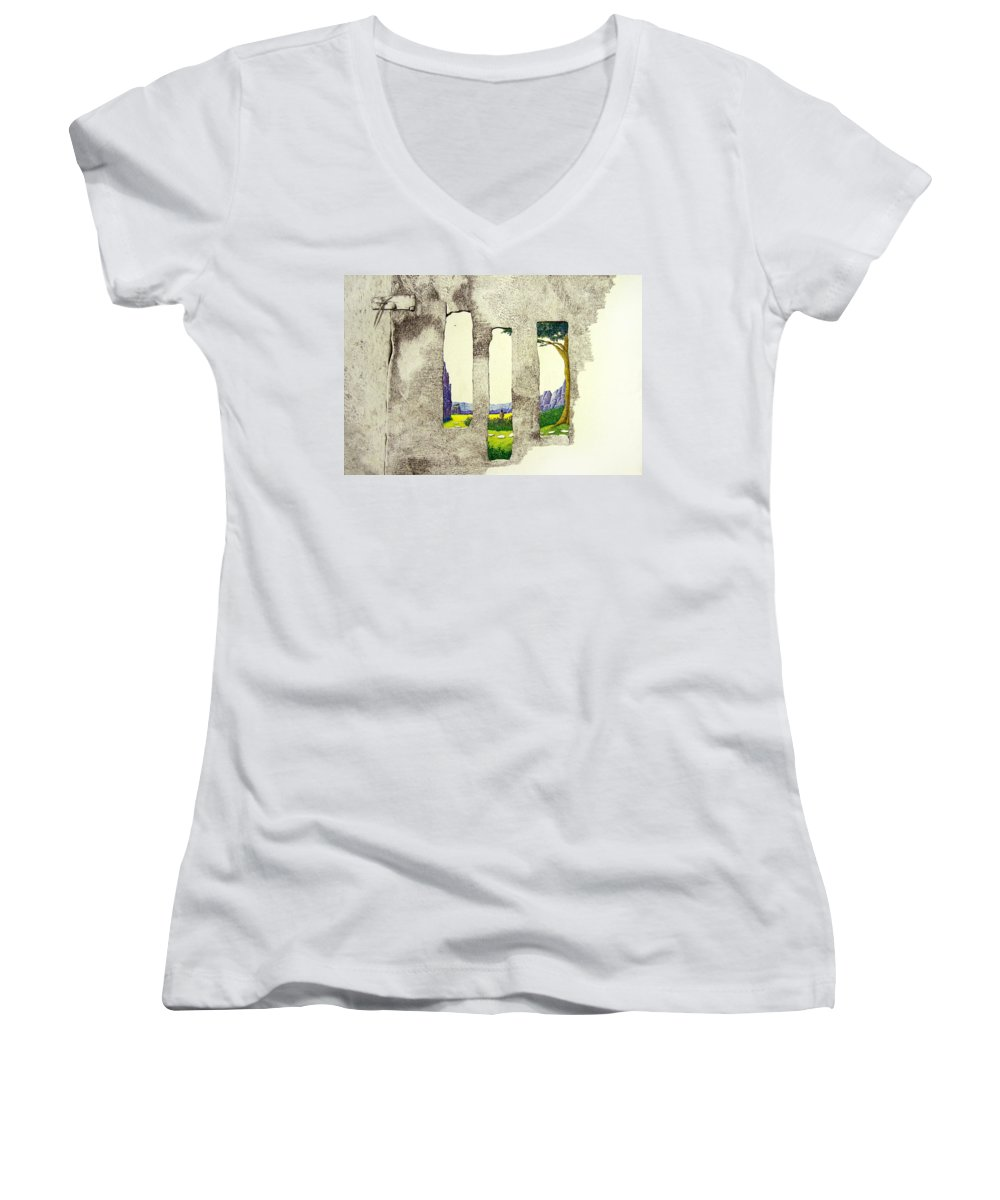 Imaginary Landscape. Women's V-Neck (Athletic Fit) featuring the painting The Garden by A Robert Malcom