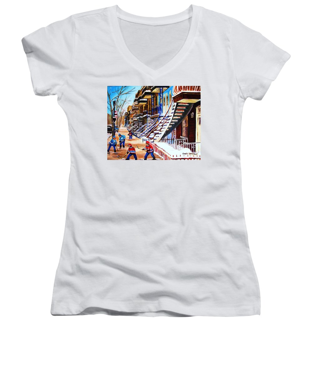 Hockey Women's V-Neck T-Shirt featuring the painting The Gray Staircase by Carole Spandau