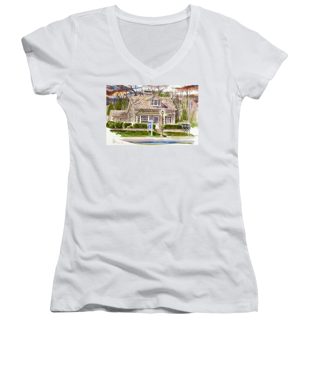 The Greystone Inn In Brigadoon Women's V-Neck (Athletic Fit) featuring the painting The Greystone Inn In Brigadoon by Kip DeVore
