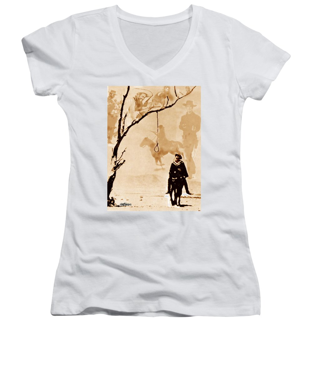 Clint Eastwood Women's V-Neck T-Shirt featuring the digital art The Hangman's Tree by Seth Weaver