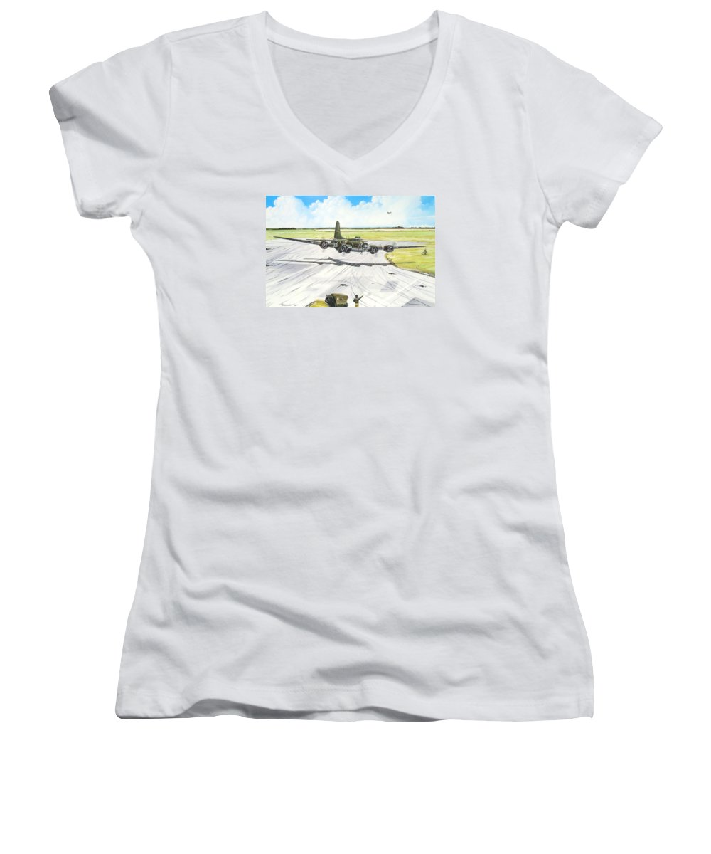 Military Women's V-Neck T-Shirt (Junior Cut) featuring the painting The Memphis Belle by Marc Stewart