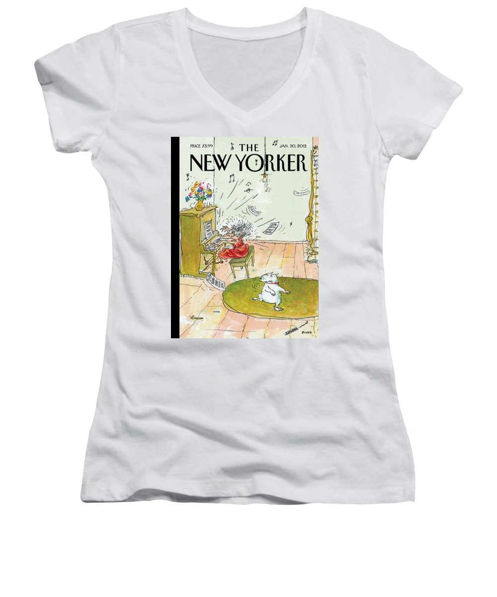 Woman Women's V-Neck featuring the photograph Winter Blues by George Booth