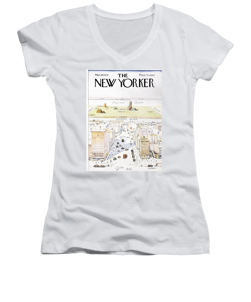 Saul Women's V-Neck featuring the painting View From 9th Avenue by Saul Steinberg