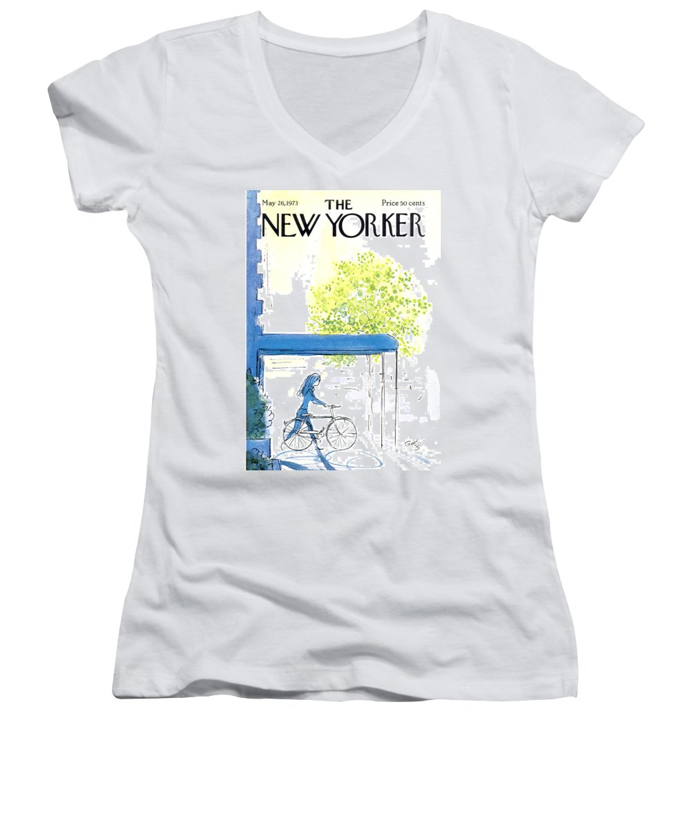 Bicycle Women's V-Neck featuring the painting The New Yorker Cover - May 26th, 1973 by Arthur Getz