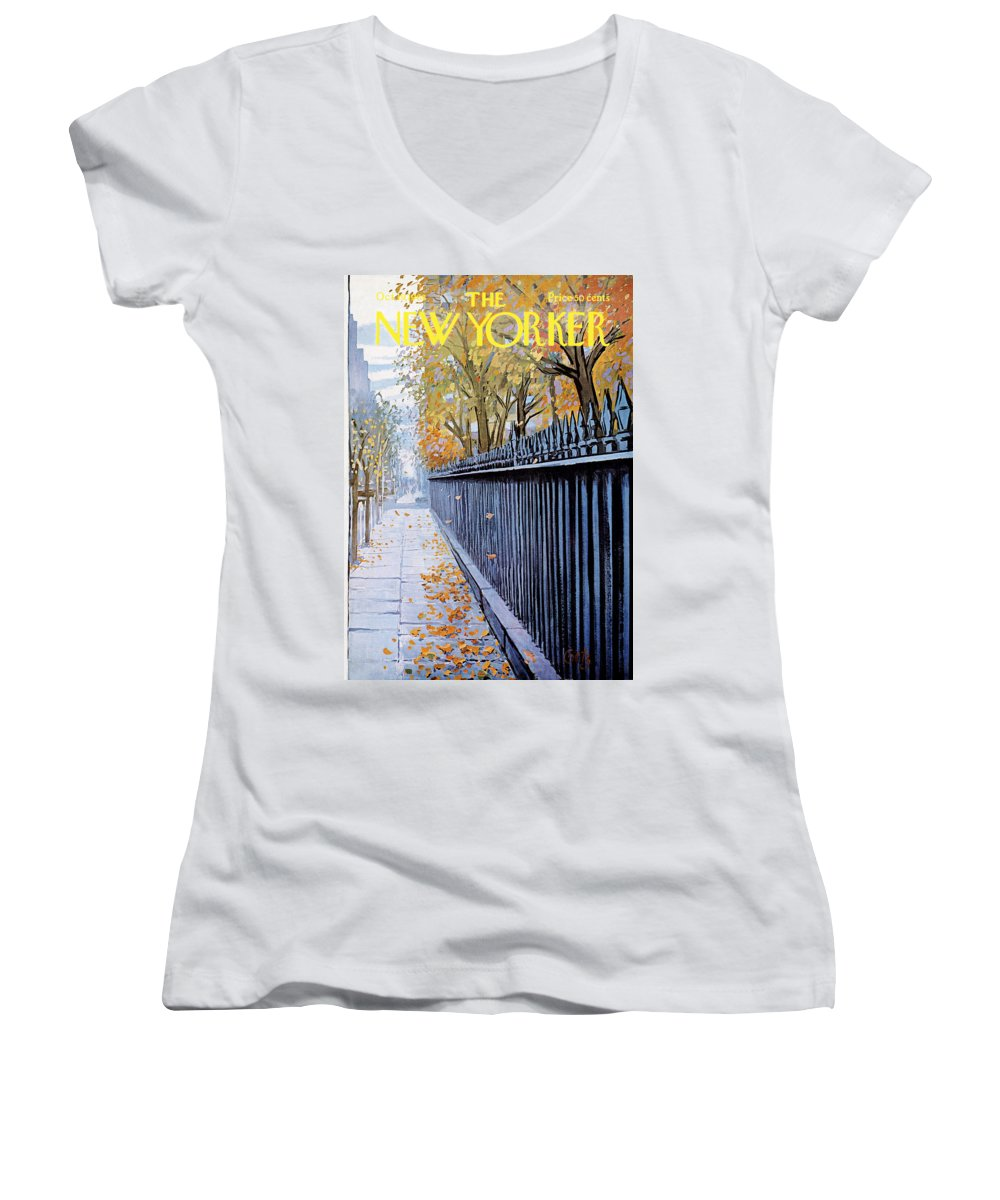 Season Women's V-Neck featuring the painting Autumn In New York by Arthur Getz