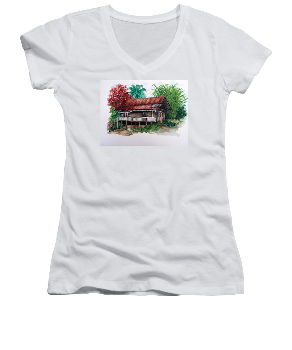 Tropical Painting Poincianna Painting Caribbean Painting Old House Painting Cocoa House Painting Trinidad And Tobago Painting  Tropical Painting Flamboyant Painting Poinciana Red Greeting Card Painting Women's V-Neck T-Shirt featuring the painting The Old Cocoa House by Karin Dawn Kelshall- Best