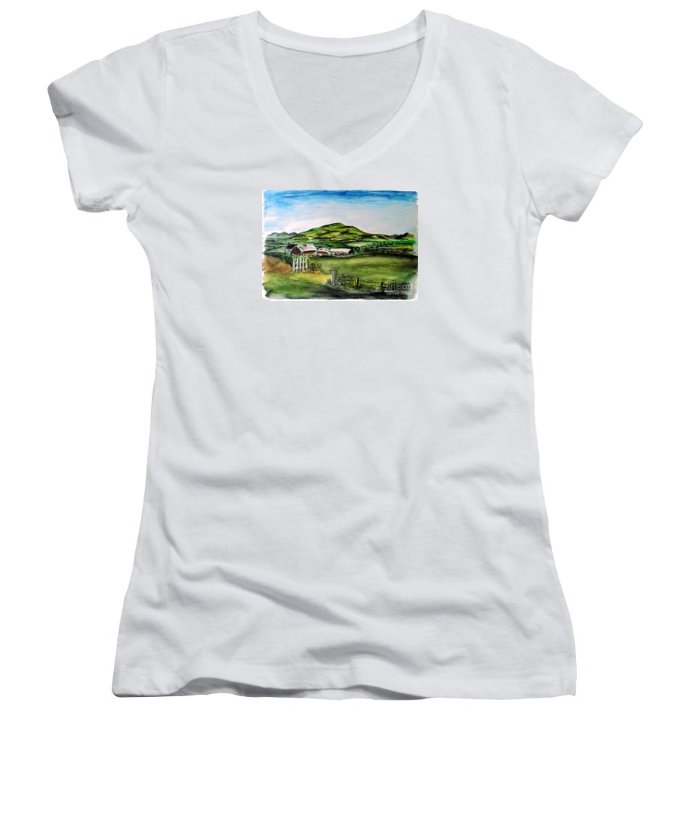 Landscape Women's V-Neck T-Shirt featuring the painting The Old Farm by Alan Hogan