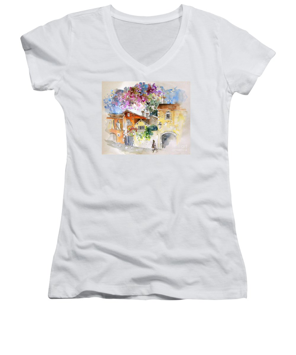France Paintings Women's V-Neck T-Shirt featuring the painting The Perigord In France by Miki De Goodaboom