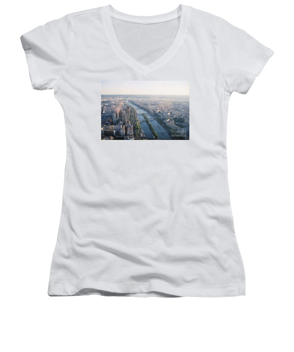 City Women's V-Neck T-Shirt featuring the photograph The Seine River In Paris by Nadine Rippelmeyer