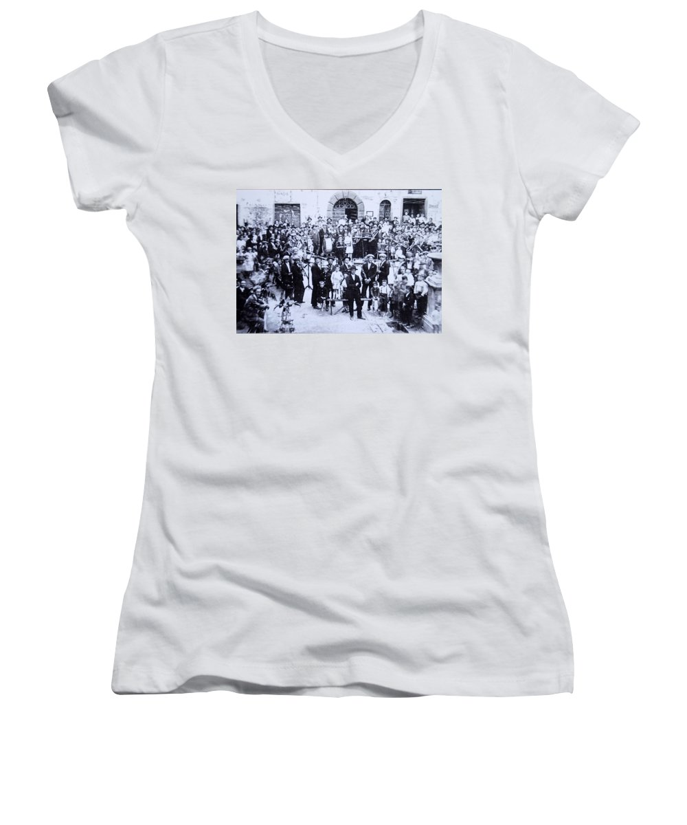 Tuscany Women's V-Neck (Athletic Fit) featuring the photograph The Village Band by Kurt Hausmann
