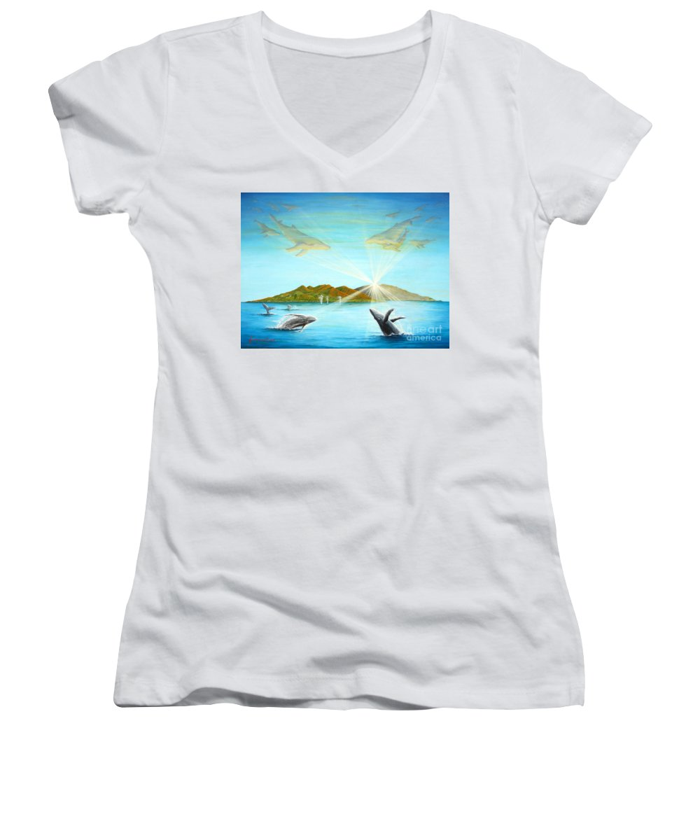 Whales Women's V-Neck T-Shirt featuring the painting The Whales Of Maui by Jerome Stumphauzer