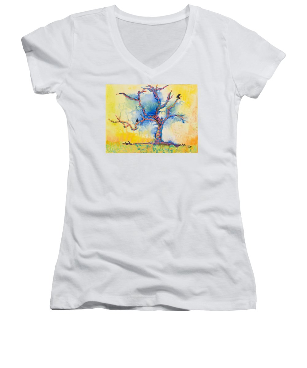 Abstract Painting Women's V-Neck T-Shirt featuring the mixed media The Wind Riders by Pat Saunders-White