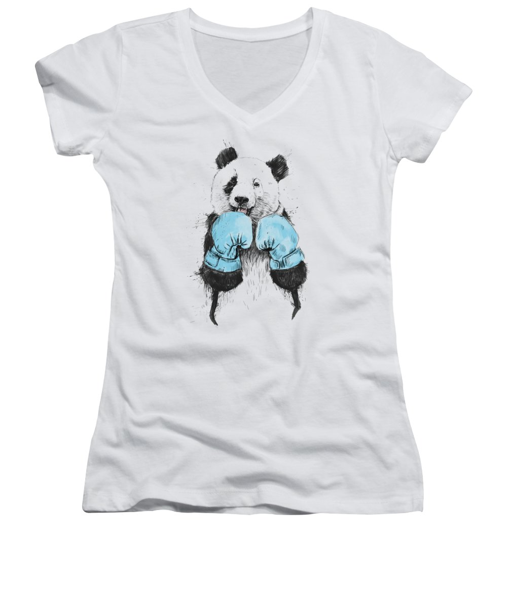Panda Women's V-Neck featuring the digital art The Winner by Balazs Solti