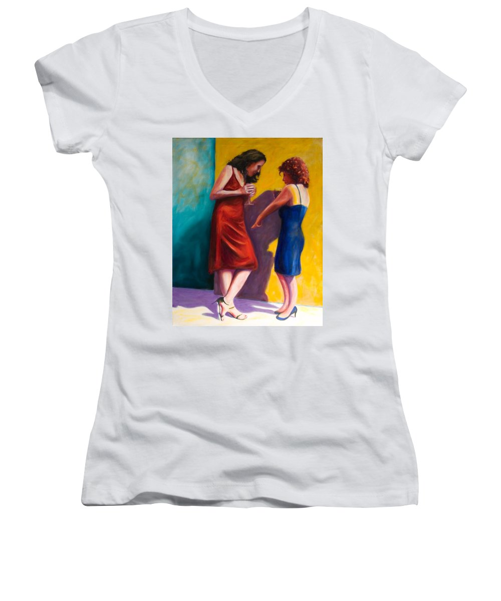 Figurative Women's V-Neck T-Shirt (Junior Cut) featuring the painting There by Shannon Grissom