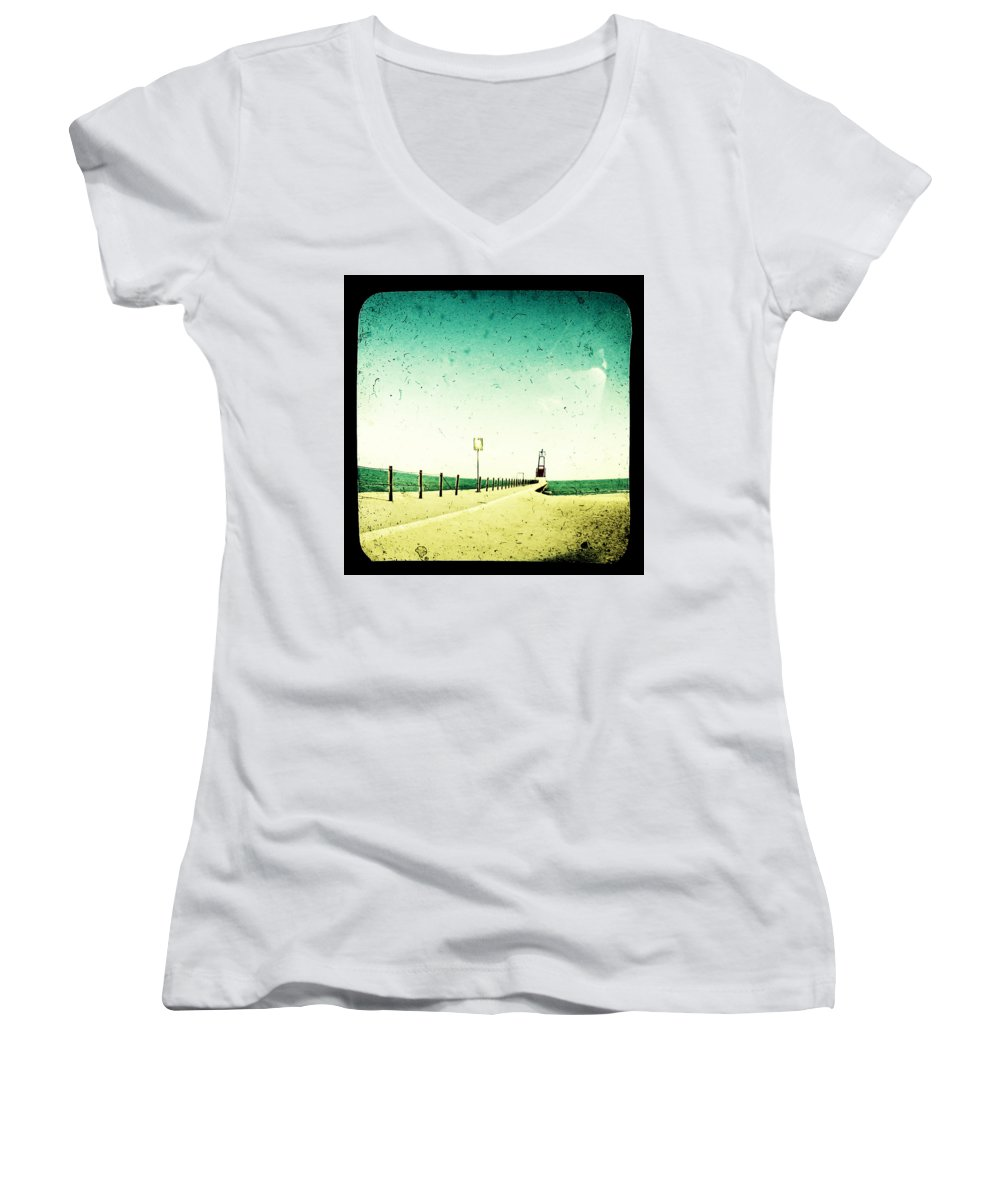 Beach Women's V-Neck T-Shirt featuring the photograph These Days Are Gone by Dana DiPasquale