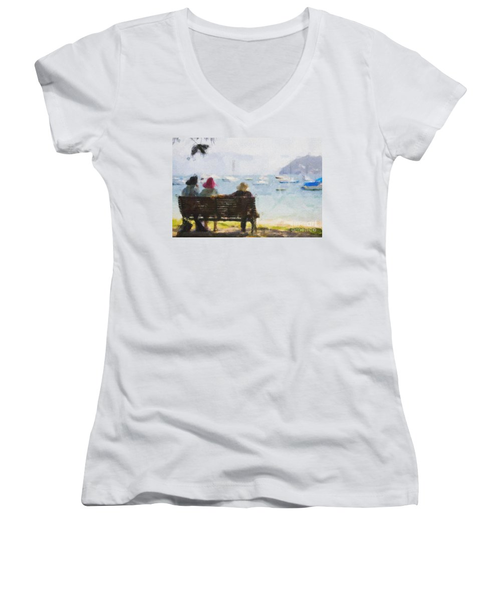 Impressionism Impressionist Water Boats Three Ladies Seat Women's V-Neck (Athletic Fit) featuring the photograph Three Ladies by Sheila Smart Fine Art Photography