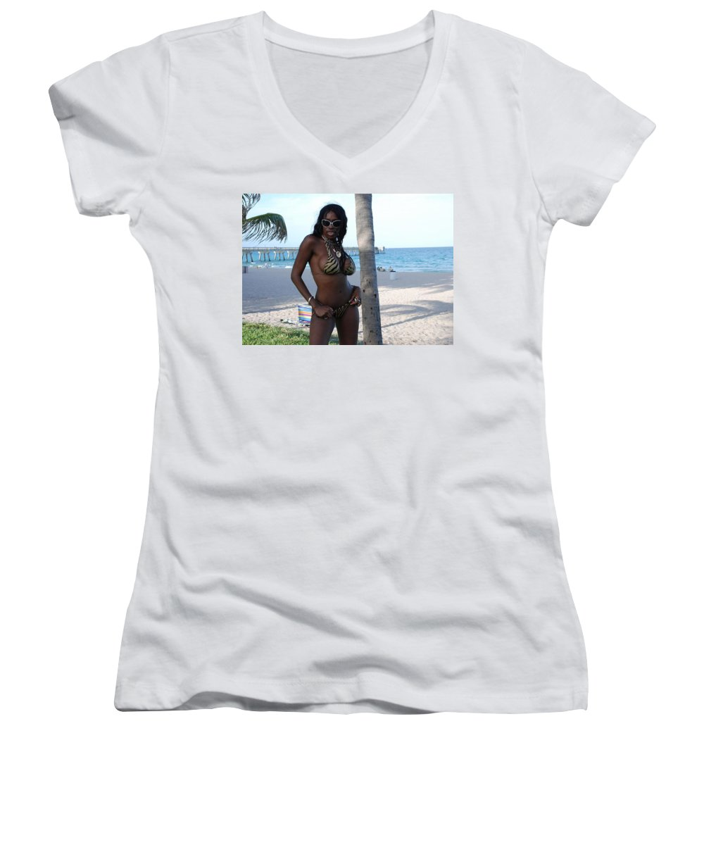 Sand Women's V-Neck (Athletic Fit) featuring the photograph Tiger Stripes by Rob Hans
