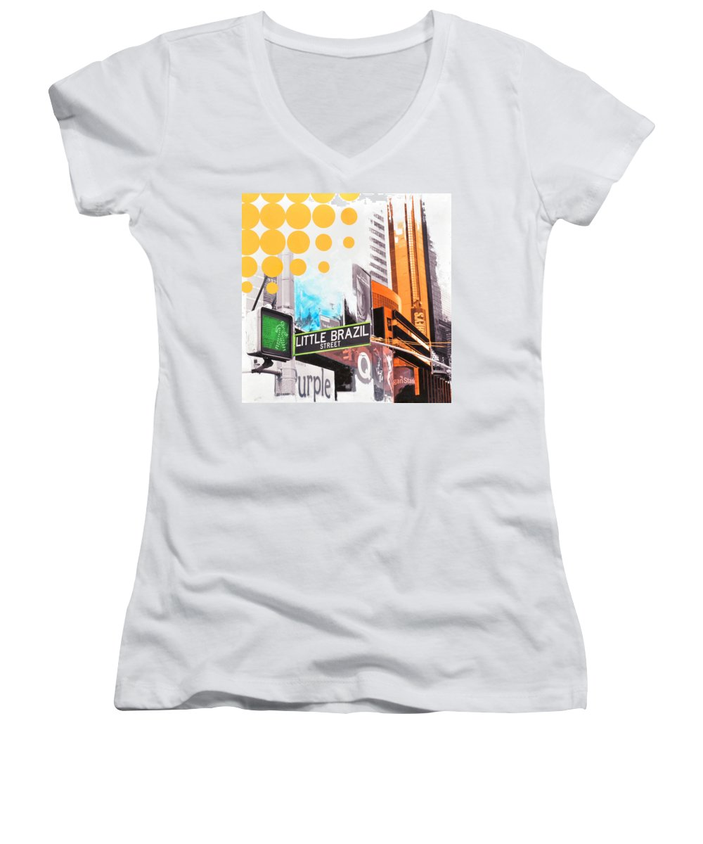 Ny Women's V-Neck T-Shirt featuring the painting Times Square Little Brazil by Jean Pierre Rousselet
