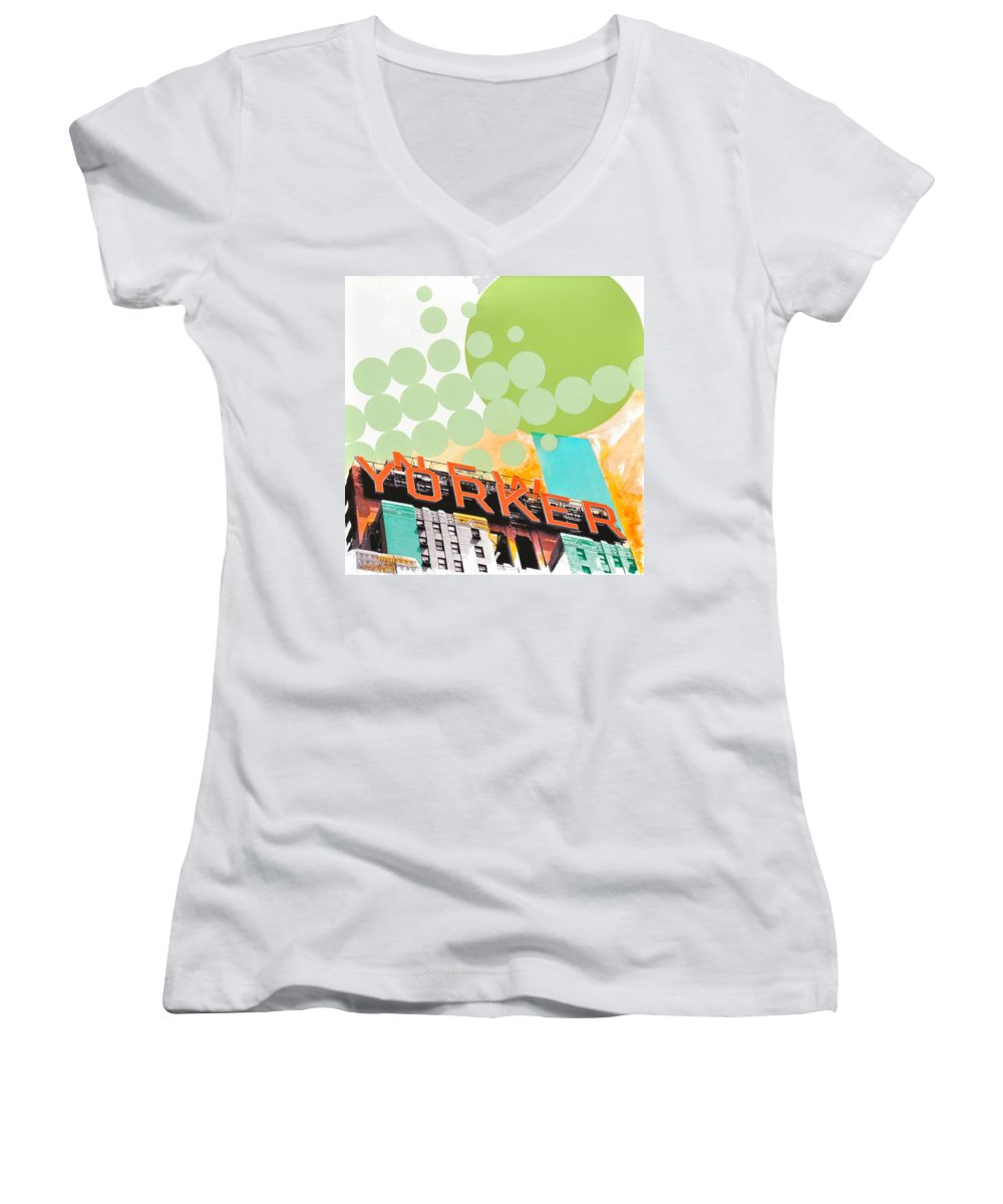 Ny Women's V-Neck (Athletic Fit) featuring the painting Times Square New Yorker by Jean Pierre Rousselet