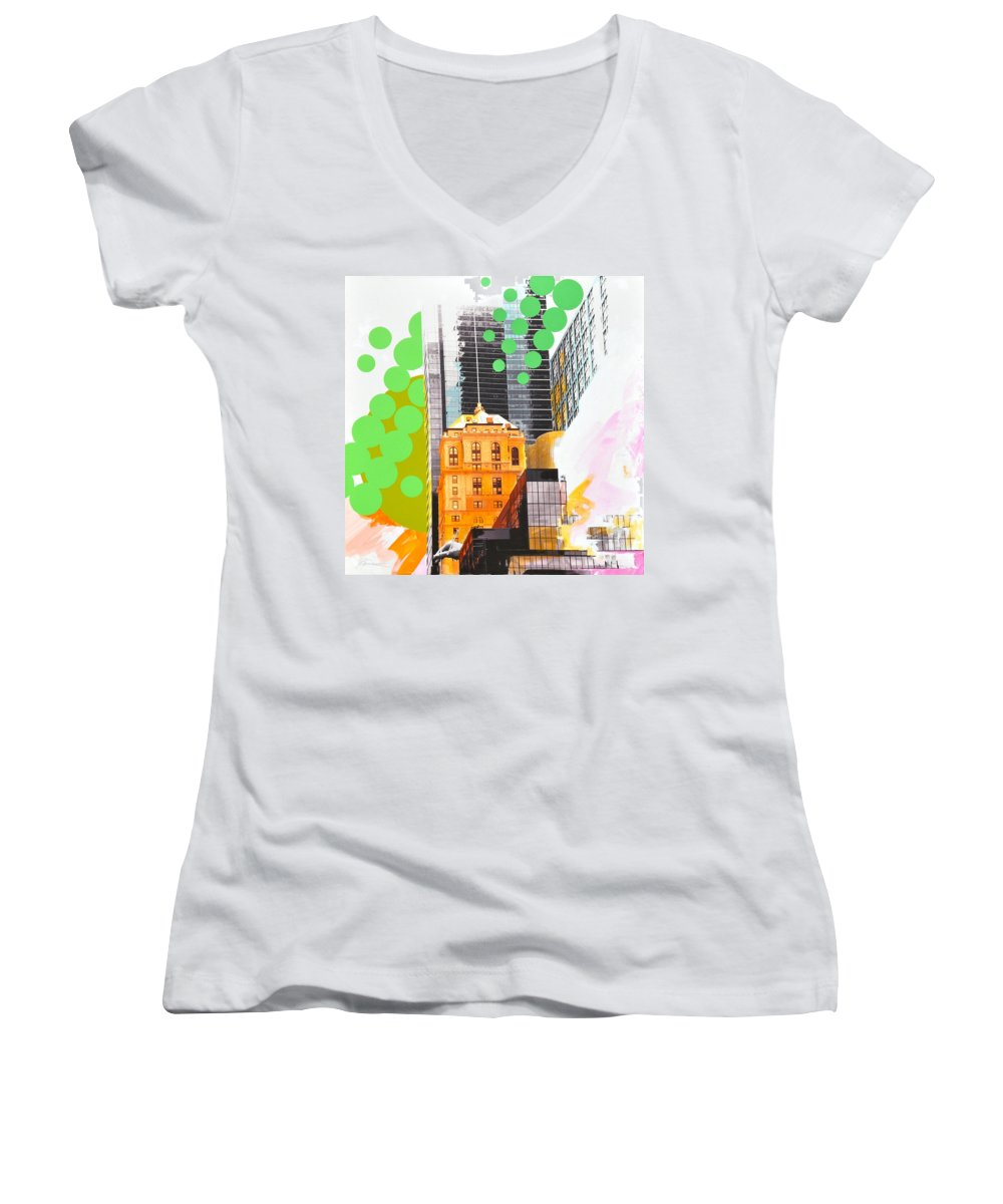 Ny Women's V-Neck T-Shirt featuring the painting Times Square Ny Advertise by Jean Pierre Rousselet