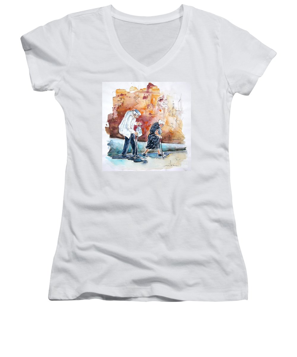 Portugal Paintings Women's V-Neck T-Shirt featuring the painting Together Old In Portugal 01 by Miki De Goodaboom