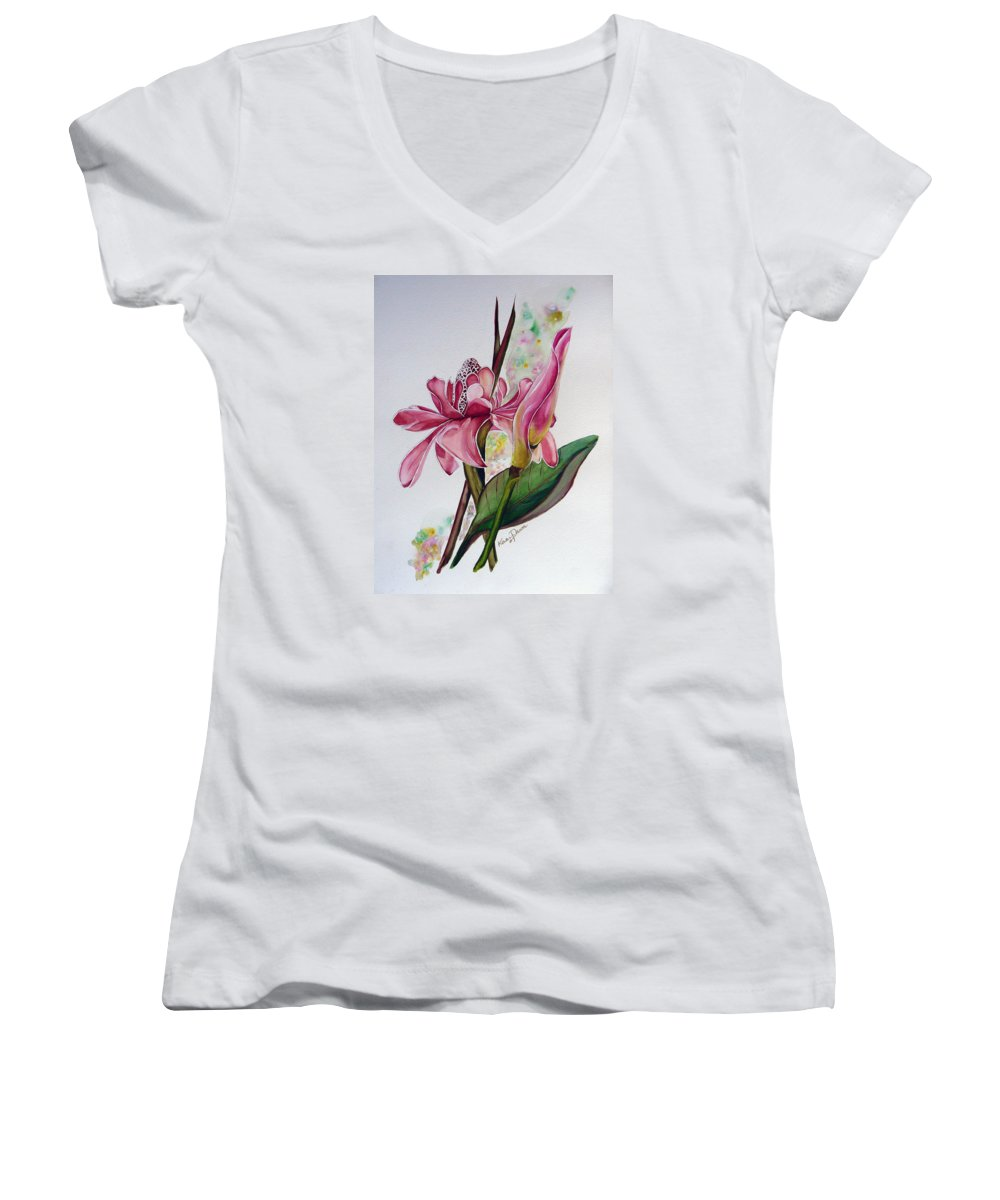 Flower Painting Floral Painting Botanical Painting Flowering Ginger. Women's V-Neck T-Shirt featuring the painting Torch Ginger Lily by Karin Dawn Kelshall- Best