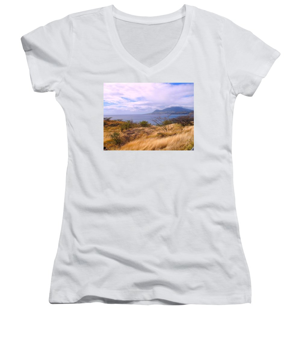 St Kitts Women's V-Neck T-Shirt featuring the photograph Towards Basseterre by Ian MacDonald