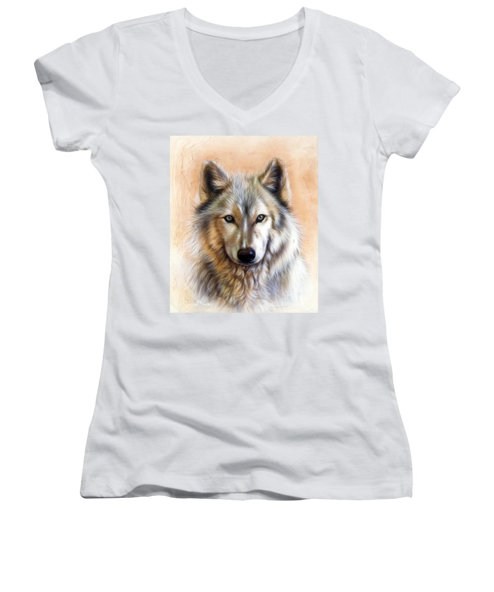 Wolves Women's V-Neck T-Shirt featuring the painting Trace Two by Sandi Baker